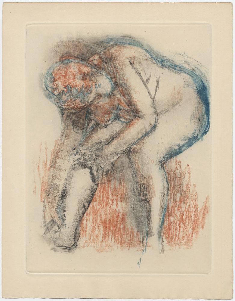 Radierung Und Aquatinta Degas - Étude de nu se massant la cheville (vers 1896)