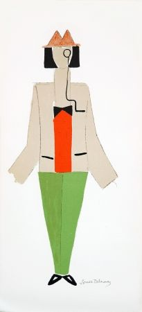 Lithographie Delaunay - 1921 Costume For Dada Party In Paris