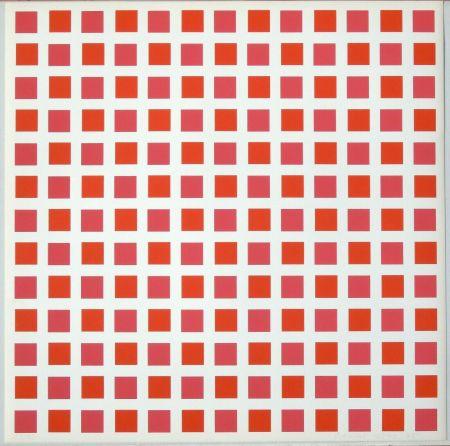 Siebdruck Morellet - 1 carré rouge 1 carré orange