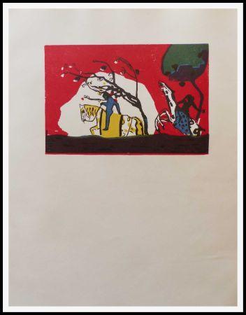 Holzschnitt Kandinsky - 2 CAVALIERS SUR FOND ROUGE