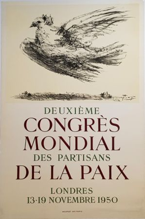 Lithographie Picasso - 2e Congres Mondial des Partisans de la Paix