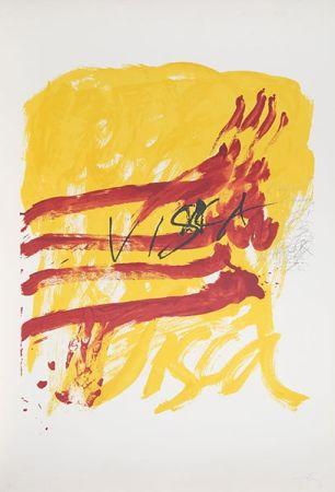 Lithographie Tàpies - 7 from Als Mestres de Catalunya