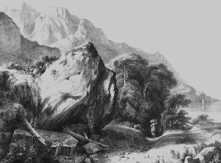 Lithographie Fontanesi - A Saint-Gingolph (Lac de Genève)