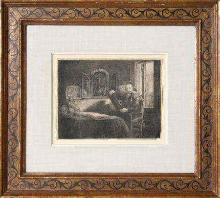 Stich Rembrandt - Abraham Francen, apothecary