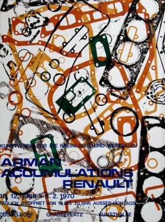 Lithographie Arman - '' Accumulations Renault ''  -  Dusseldorf