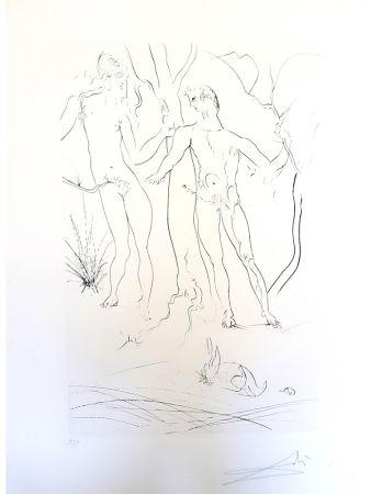 Lithographie Dali - Adam et Eve