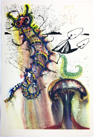 Heliogravüre Dali - ADVICE FROM A CATERPILLAR (For Alice in Wonderland. New-Yok 1969).