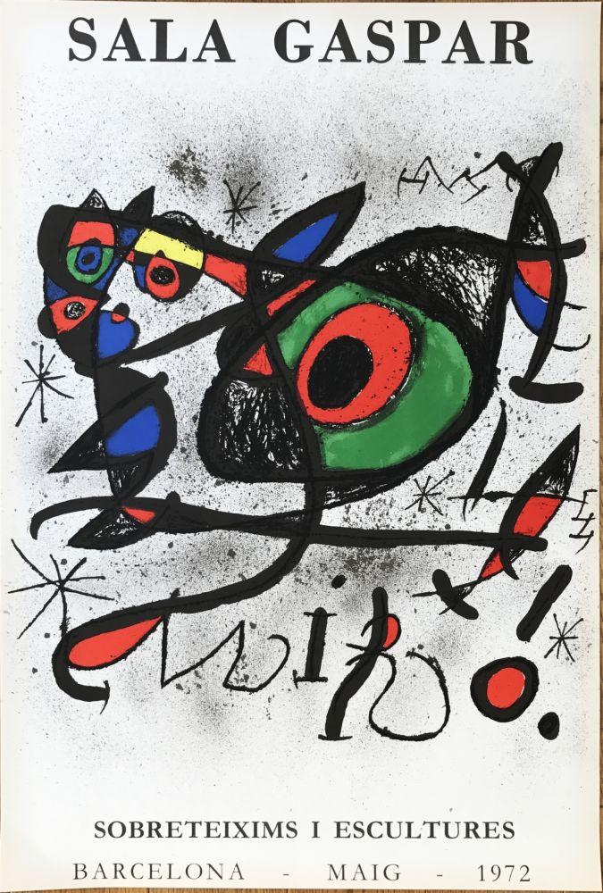 """Lithographie Miró - Affiche pour l' exposition """"Sobreteixims i escultures"""". Sala Gaspar, Barcelona."""