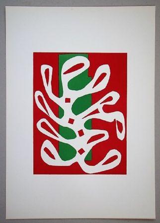 Lithographie Matisse - Algue Sur Fond Rouge Et Vert