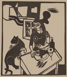 Holzschnitt Campendonk - Am Tisch Sitzende Frau Mit Katze Und Fisch / Woman Sitting At Table With Cat And Fish