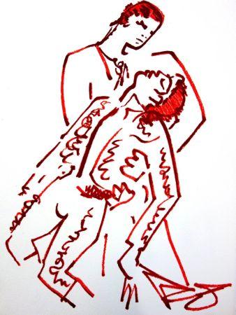 Lithographie Cocteau - Amoureux