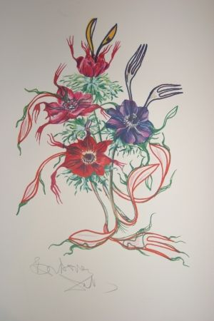 Lithographie Dali - Anemone (surrealistic flowers)