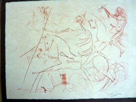 Kaltnadelradierung Dali - Apocalyptische Reiter