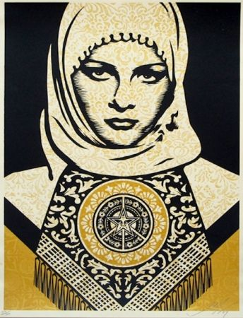 Siebdruck Fairey - Arab Woman (Gold)