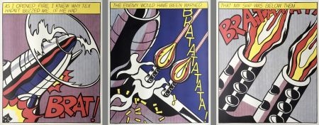Lithographie Lichtenstein - As I Opened Fire (Hand Signed) Triptych 3-Piece Set