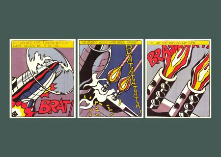 Lithographie Lichtenstein - 'As I Opened Fire' (Triptych) Pop Art Poster Print Set 1983