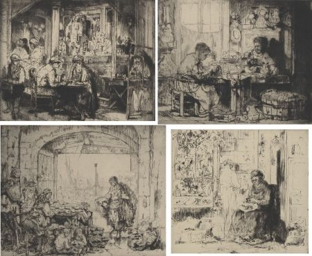 Stich Brouet - (Assorted occupations:  a collection of ten original etchings)