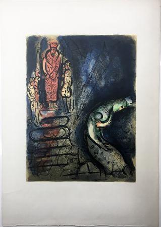 Lithographie Chagall - ASSUÉRUS CHASSE VASTHI (Dessins pour la Bible. 1960)