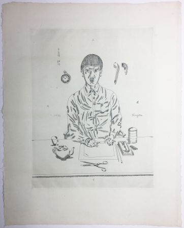 Stich Foujita - Autoportrait à la table de travail. 11:05 (1923)