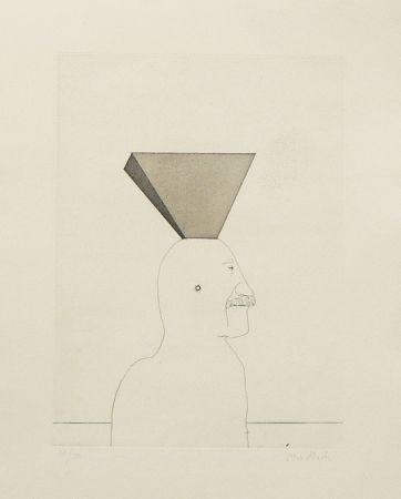 Radierung Und Aquatinta Wunderlich - Autoportrait avec pyramide
