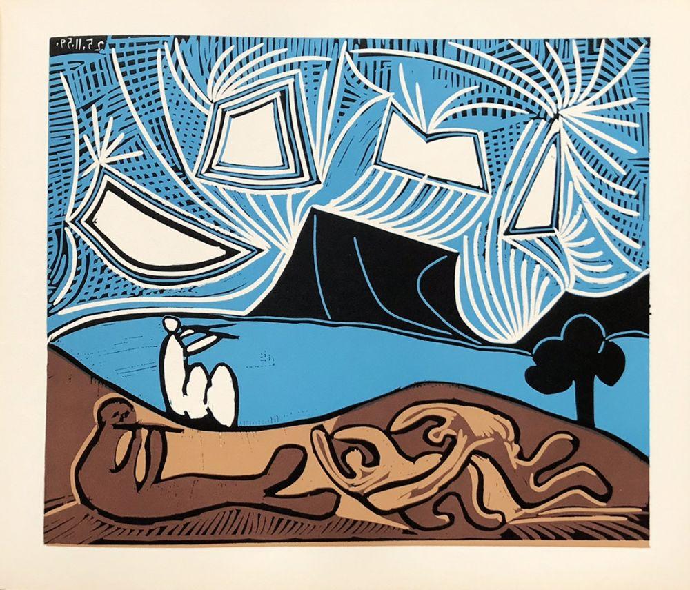 Linolschnitt Picasso (After) - Bacchanale 25-11-59
