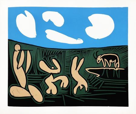 Linolschnitt Picasso (After) - Bacchanale au taureau