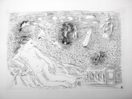 Radierung Dufy - BALCON SUR LA MER (Baigneuse aux Papillons). 1925