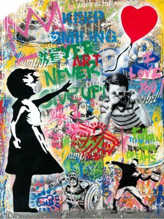 Keine Technische Mr. Brainwash - Balloon Girl - Banksy Record - Unique Mixed Media Stencil