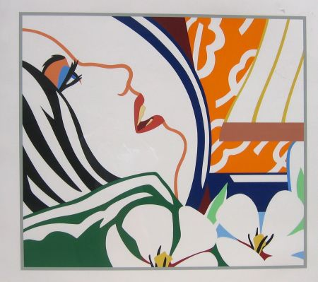 Siebdruck Wesselmann - Bedroom Face with Orange Wallpaper