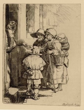 Stich Rembrandt - Beggars Receiving Alms at the Door of a House