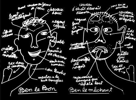 Siebdruck Vautier - '' Ben Le Bon, Ben le Méchant ''