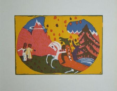 Holzschnitt Kandinsky - Berge - Klänge, edition Pieper, 1913