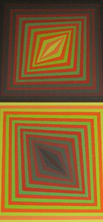 Siebdruck Vasarely - Bi-Rhomb