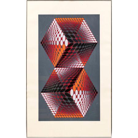 Siebdruck Vasarely - Bi - tupa