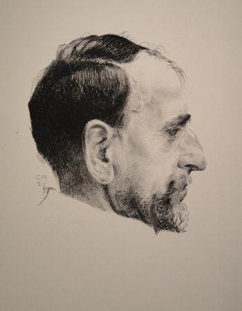 Lithographie Amiet - Bildnis Erst Kreidolf im Profil
