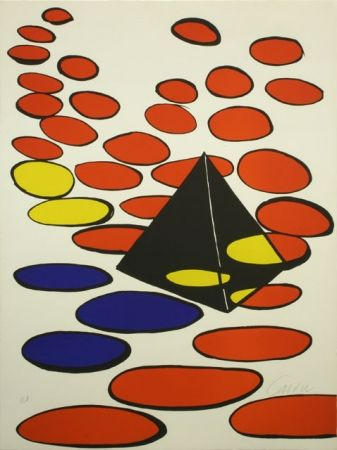 Lithographie Calder - BLACK PYRAMID WITH CIRCLE