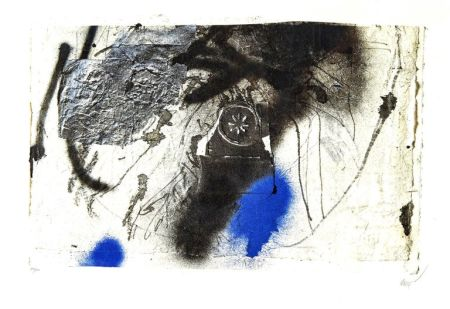 Lithographie Clavé - Blue Abstract Composition
