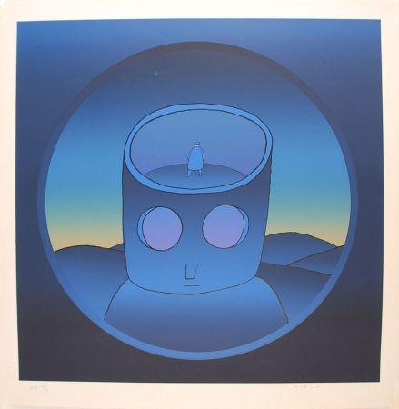 Siebdruck Folon - Blue Man - L'Homme Bleu