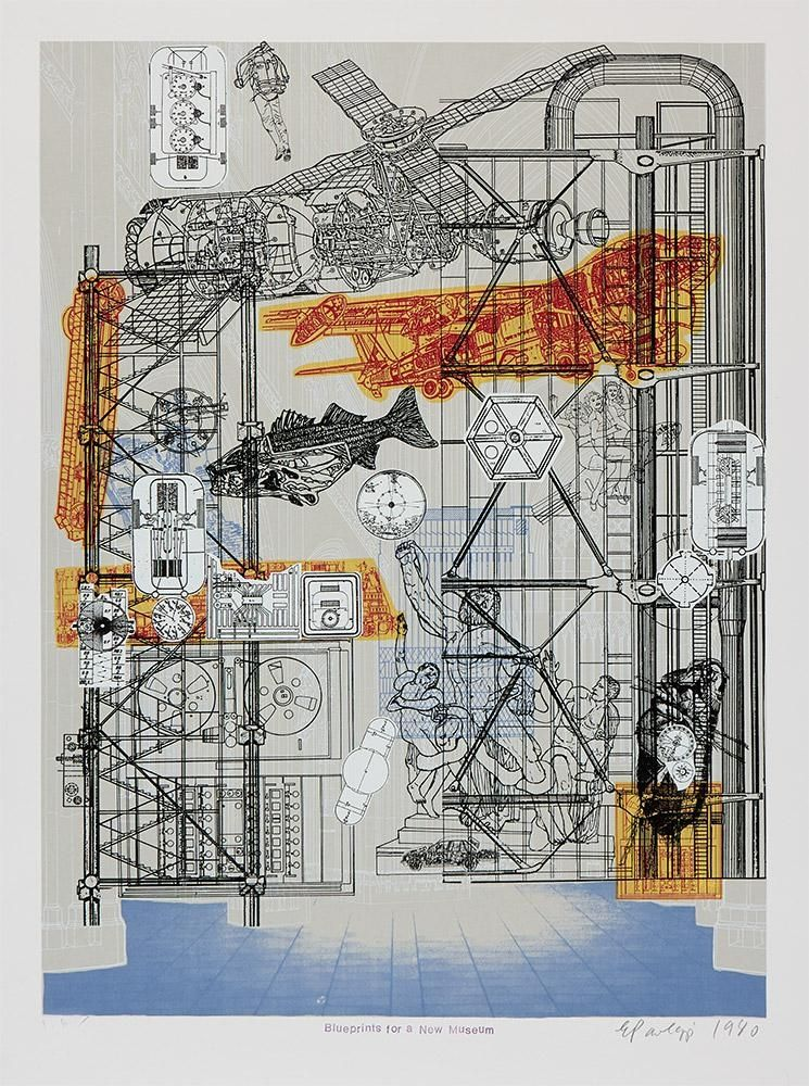 Siebdruck Paolozzi - Blueprints for a New Museum