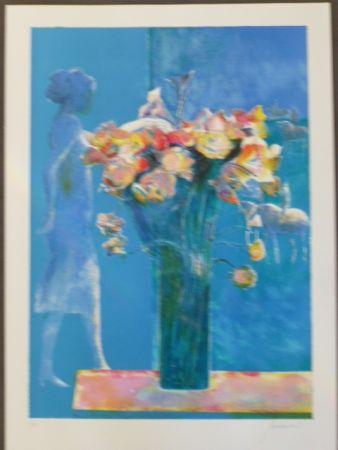 Lithographie Guiramand - Bouquet de fleurs et femme de profil