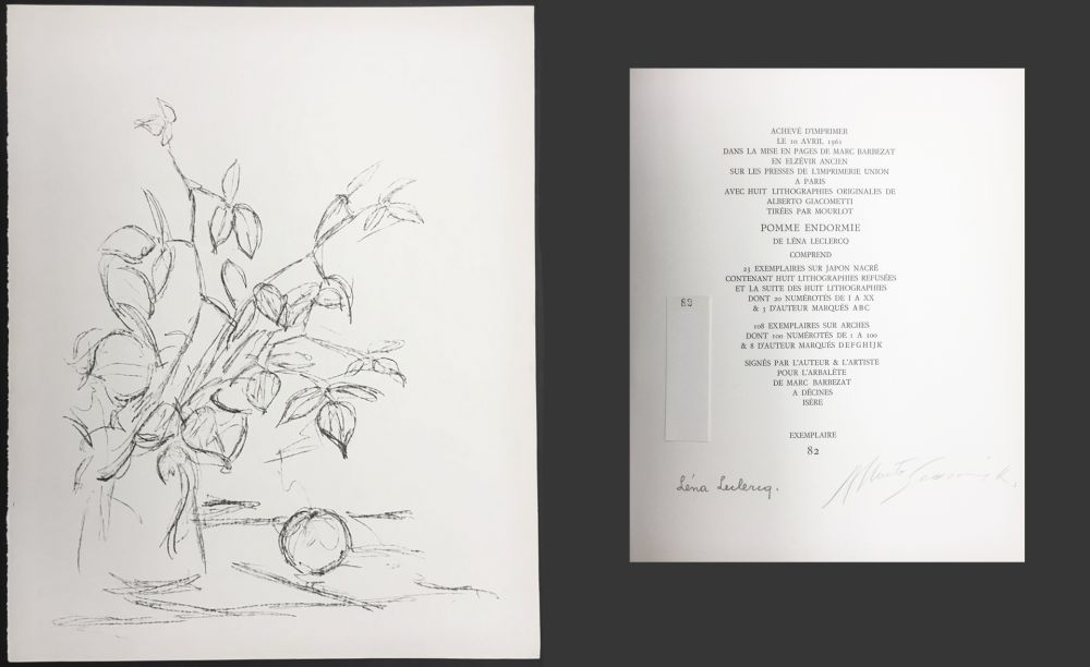 Lithographie Giacometti - BOUQUET ET POMME (Bouquet and Apple). Lithographie originale. 1961.