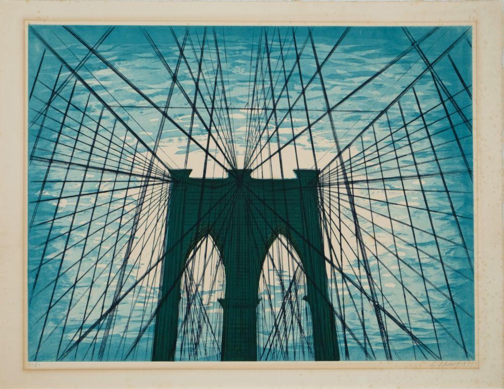Aquatinta Nesbitt - Brooklyn Bridge