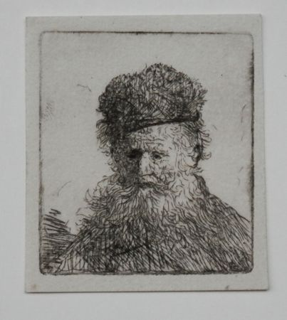 Stich Rembrandt - Bust of an old man with a fur cap first state