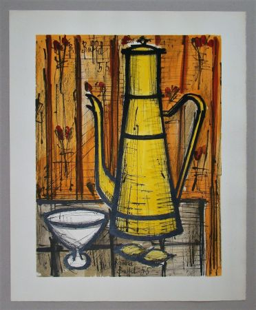 Lithographie Buffet - Cafetière jaune, 1955