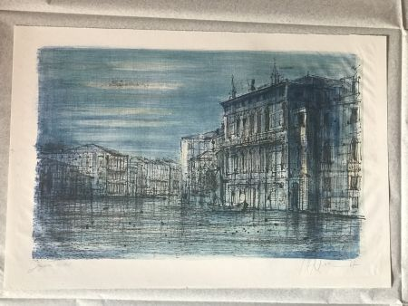 Lithographie Carzou - Canal Venice with Gondola