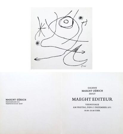 Keine Technische Miró - Carton d'invitation pour une exposition Miró à la Galerie Maeght-Zürich. 1971.