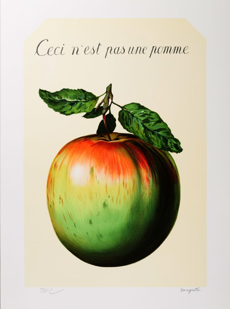 Lithographie Magritte - Ceci n'est pas une pomme (This is not an apple)