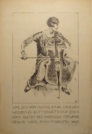 Lithographie Amiet - Cello-Spielerin