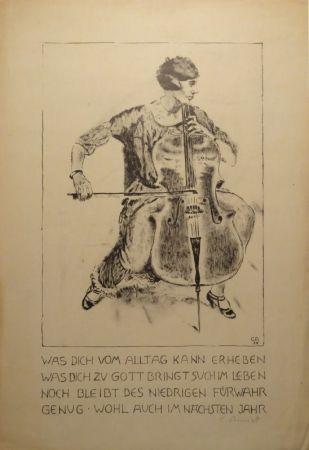 Lithographie Amiet - Cello-Spielerin