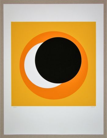 Siebdruck Claisse - Cercle noir sur fond orange